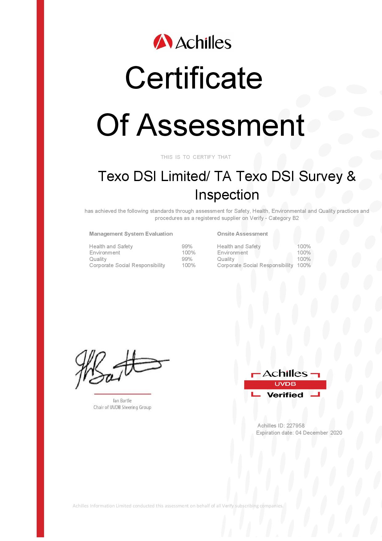 Texo DSI Achieves Outstanding Results In Achilles UVDB Audit