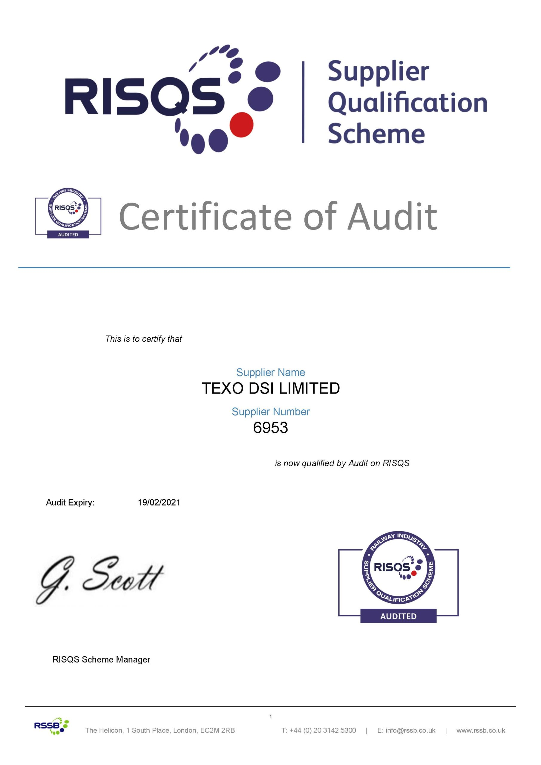 Texo DSI becomes RISQS Approved!